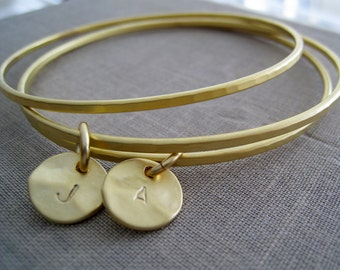 Initial gold bangles, set of 3 bangle bracelets, double initial disc charm, personalized bridesmaid gifts, bff