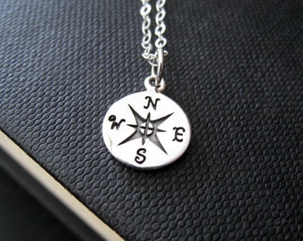 Compass necklace-sterling silver compass charm jewelry
