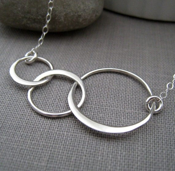 Sterling silver eternity necklace, three interlocking circle necklace, lightweight, geometric, everyday necklace
