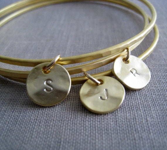 initial bangle, personalized bangle, set of 3 friendship bracelets, bff gift, hammered lightweight, trendy fashion accessory