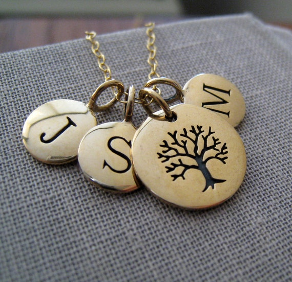 Personalized Family necklace, personalized tree of life necklace, tree of life pendant & initials