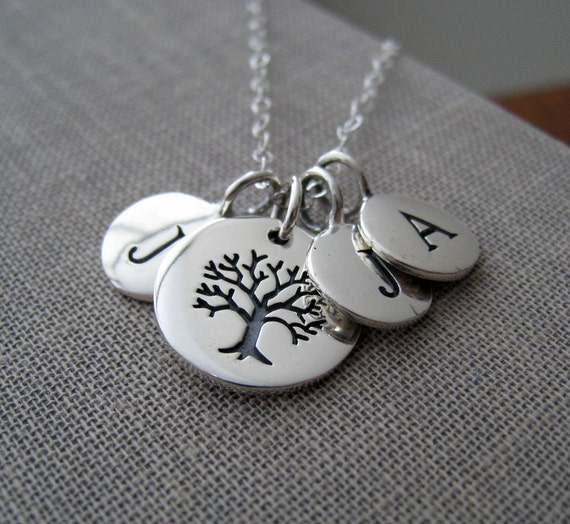 family initial necklace, grandmothers necklace, tree of life, personalized mom jewelry, mother of the groom gift