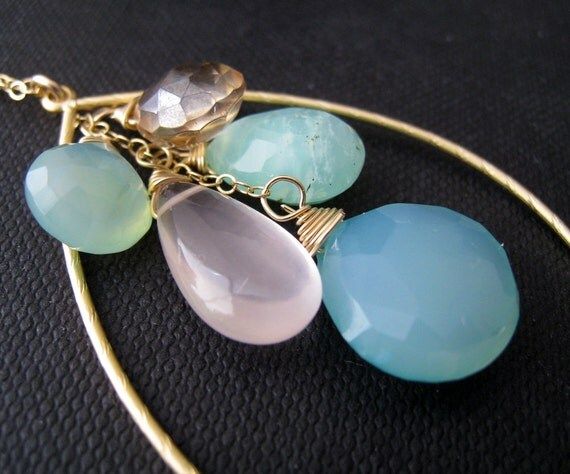 Gold hoop with Gemstone necklace, shades of blue, summer fun, pastel blue chalcedony, rose quartz