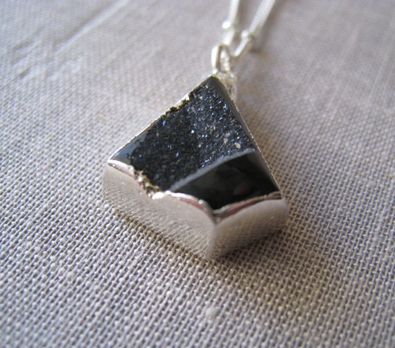 Black druzy necklace, sterling silver edged druzy pendant, small size, one of a kind jewelry, drusy necklace
