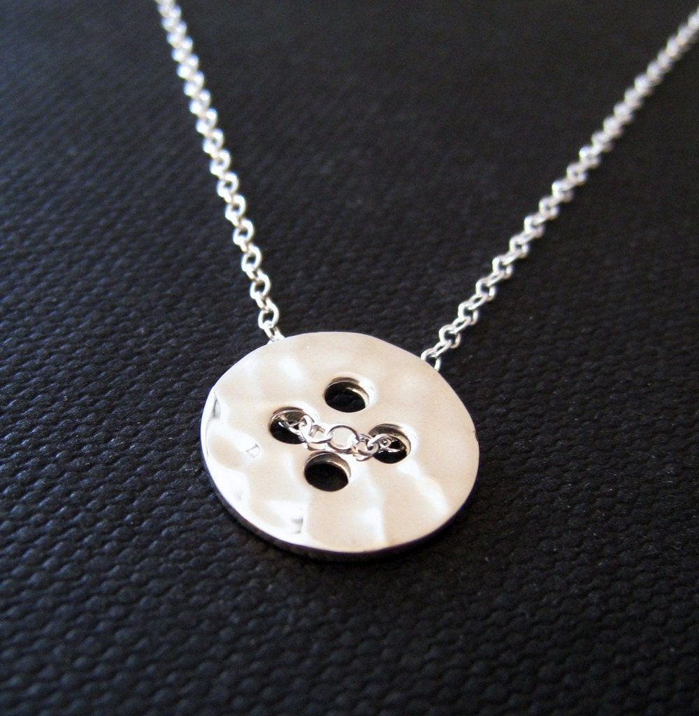 button necklace sterling silver charm cute as a button