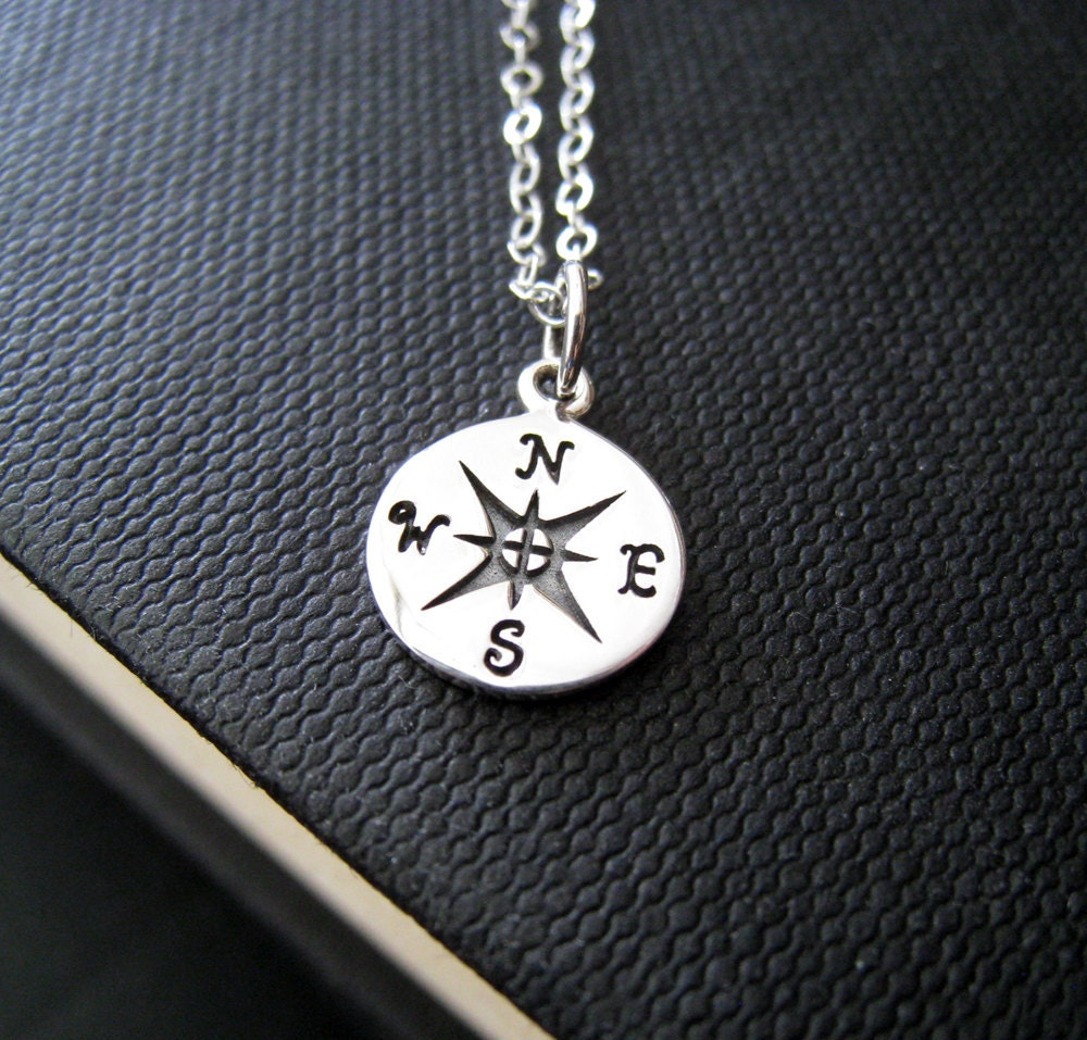 compass necklace sterling silver compass charm jewelry