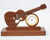 "Small Guitar 1 7/16"" "" clock  -Walnut"