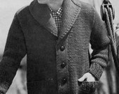 1950s Mens Cardigan Button Down Bulky Sweater to Knit PDF Pattern