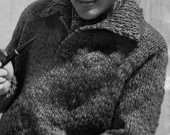 PATTERN Suave 1950's Mens Sweater To Knit PDF Pattern of Mens Bulky Pullover Bulky weight yarn. Fast knit.