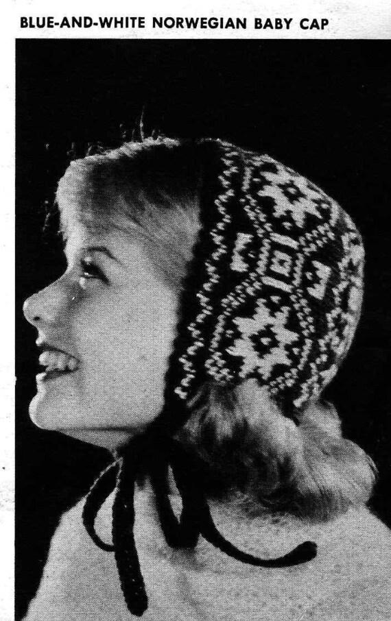 PATTERN Vintage Norwegian Fair Isle Color work hat to knit.