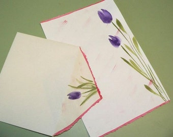 Deckled Edge - Hand-Painted Watercolor Stationery - Pkg of 10