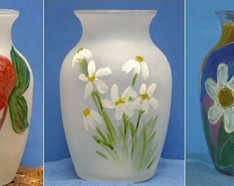 Vase - Round, Etched, and Hand-Painted
