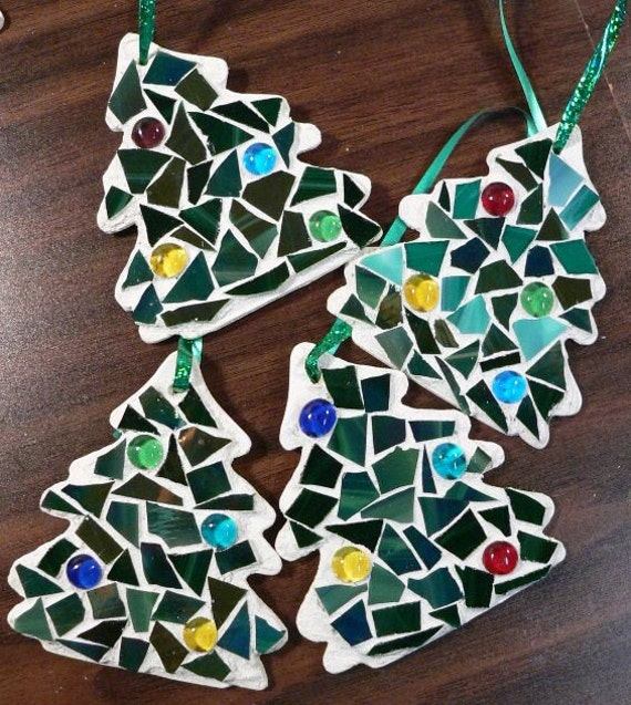 Items Similar To Ornament Christmas Mosaic Christmas Tree