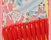 Vintage Red Plastic Doll Clothespins