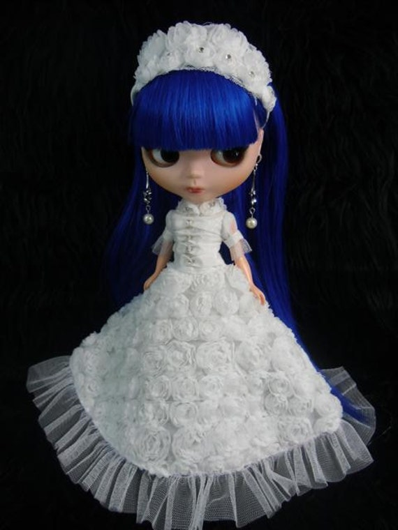 """Neo Takara 12"""" Blythe outfit dress gown white roses and hair band  B44"""