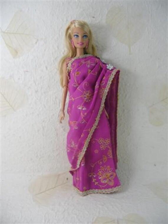 Handmade Vintage Traditional Sari Indian Barbie Doll Dress