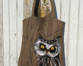 Sale One of kind Large Tote bag OWL  and  Makeup Bag,  handmade, OOAK Ready to Ship