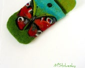 Wet Felted  BUTTERFLY Felt pouch Ready to Ship  handmade Perfect Valentines Gift under 50 USD
