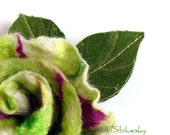 FLOWER handfelted brooch  fresh green and magenta Ready to ship Gift under 50 USD
