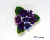 Purple spring   FLOWERS  Violets  hand felted  brooch Ready to Ship Now - Gift under 50 USD