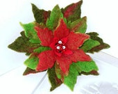 15% OFF FLOWER  Poinsettia Red Pin handfelted wool brooch -  green and red, ready to shipGift under 50 USD