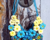 Textile necklace '' FLOWER''  turguoise  and yellow  Ready to Ship Now