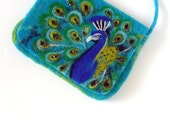 Wet Felted Peacock Clutch Purse  , handmade, OOAK,  Ready to Ship