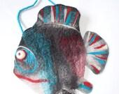 piranha fish Purse, Pouch, Clutch, shoulder bag, zipper, handmade, OOAK,  Wet Felted  Ready to Ship