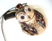 Barn OWL Wet Felted coin purse Ready to Ship with bag frame metal closure Handmade  gift for her under 50 USD