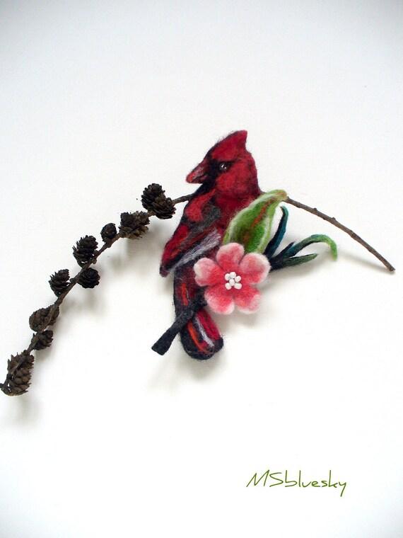 CARDINAL birdOn a blossoming tree  handfelted brooch