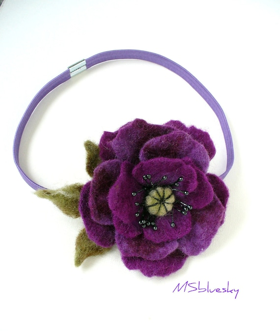 Purple POPPY hand felted Elastic Headband Ready to Ship