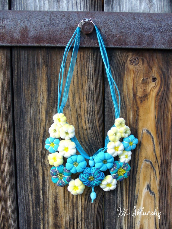 Textile necklace '' FLOWER''  turguoise  and yellow OOAK  Ready to Ship Now