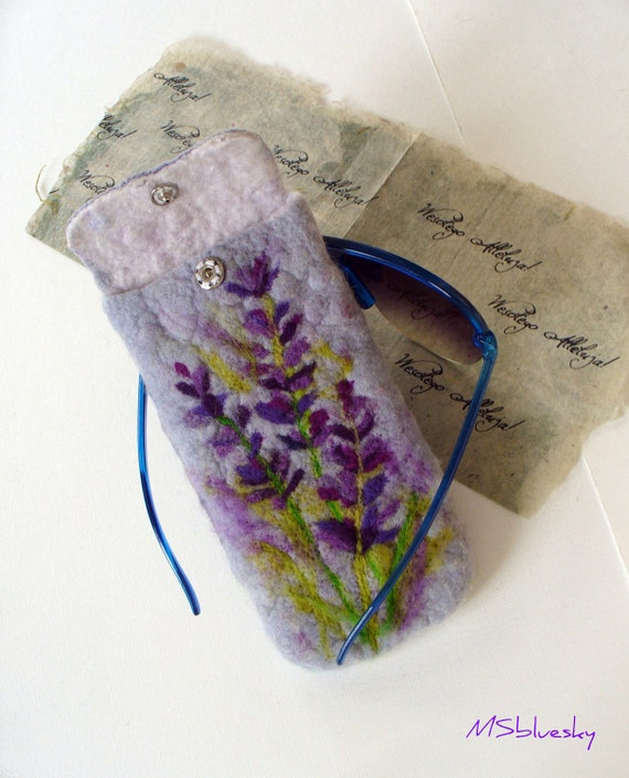 Wet Felted  Eyeglasses Case Lavender blooms Ready to Ship