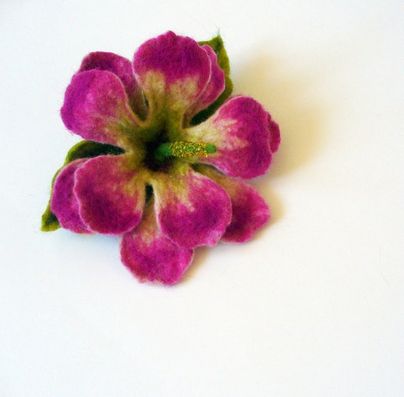 Hibiscus flower handfelted wool brooch - Ready to Ship Now - Gift under 25 USD