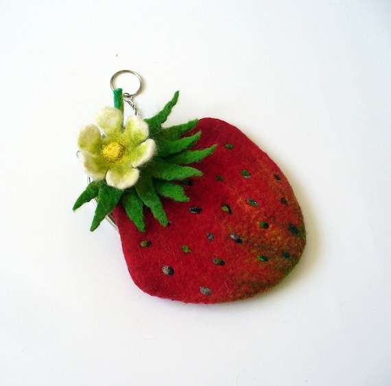 Wet Felted  strawberry coin purse Ready to Ship with bag frame metal closure Handmade  gift for her under 50 USD