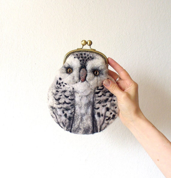 snowy OWL Wet Felted  coin purse Ready to Ship with bag frame metal closure Handmade  gift for her under 50 USD
