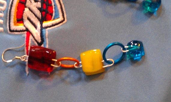 fused glass dangle earrings orange yellow blue Thunder colors