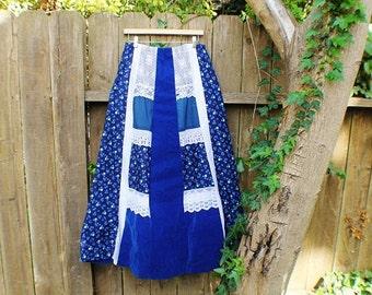 SALE------Boho Peasant Beautiful Blue Vintage Skirt