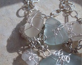 Splashed White Seaglass necklace Silver wire