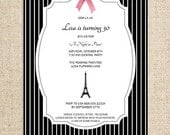 Paris Invitation with Eiffel Tower and Tied Ribbon Design by FLIPAWOO - A Night in Paris Collection - Customized Printable File