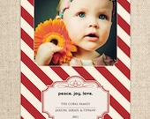 Holiday Photo Card - Candy Striped Peace, Love, Joy - Customized Printable by FLIPAWOO