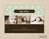 Christmas Photo Card - 3 Photos with Green and Brown Background Design - Customized Printable by FLIPAWOO