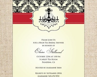 Chandelier and Damask Invitation Design by FLIPAWOO - Customized Printable File