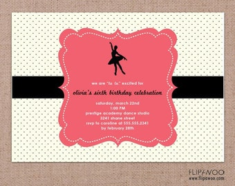 Ballerina or Ballet Invitation with Polka Dot Background by FLIPAWOO - Customized Printable File