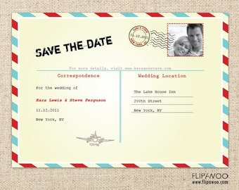 Postal Postcard Invitation by FLIPAWOO - Customized Printable File
