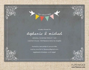 Pennant Banner with Love Birds Invitation Design by FLIPAWOO  - Customized Printable File