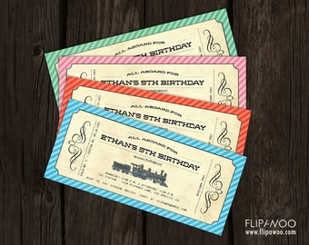 Vintage Train Invitation Ticket (Boarding Pass Style) for a Birthday Party by FLIPAWOO - Customized Printable File