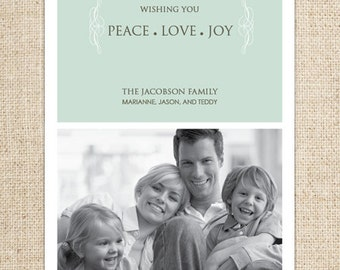 Holiday Photo Card - Peace, Love, Joy Side with Side Brackets - Customized Printable by FLIPAWOO