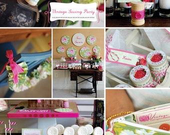 Vintage Sewing Party Printable Pack: Invitation, Tags, Labels, Thank You Card Designs by FLIPAWOO  - Customized Printables