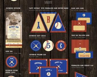 Vintage Baseball Theme Party Premium Set by FLIPAWOO - Customized Printable Files